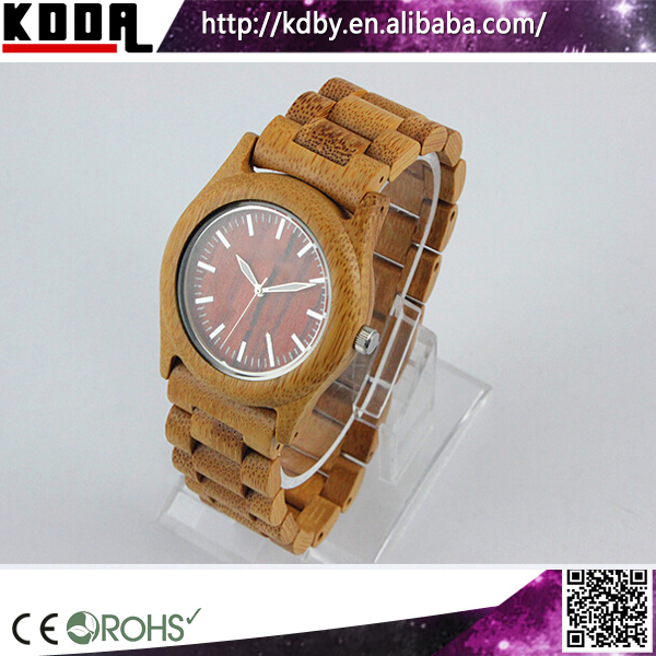 Hand Made Natural FSC Red Dial Friendly Bamboo Watch Handicraft