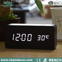 High quality wood digital led desk alarm clock , led digital table clock display