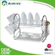 Unique design high quality double layers kitchen dish rack dinnerwares drying rack with tray