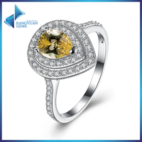 SVR150 Yellow CZ Jewelry Pear Shape 925 Sterling Silver Rings