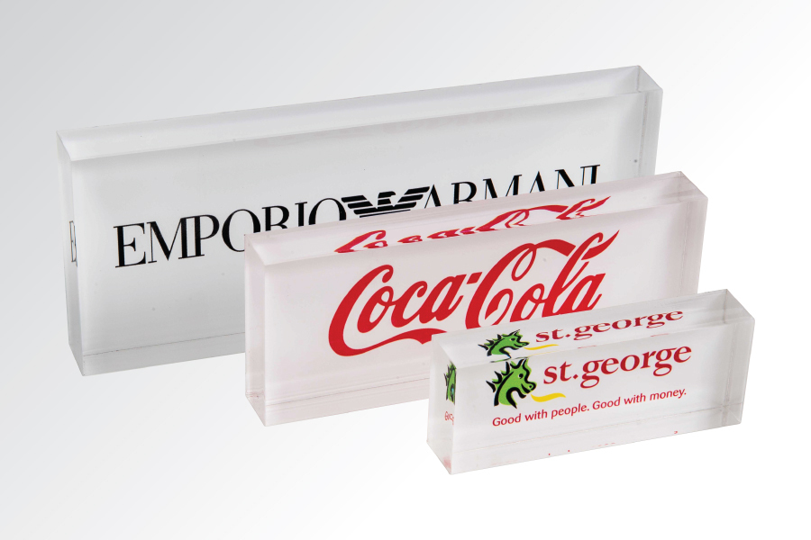factory custom acrylic logo block desktop acrylic sign display