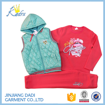 Girl Fleece Set Vest Hoody Pant Set