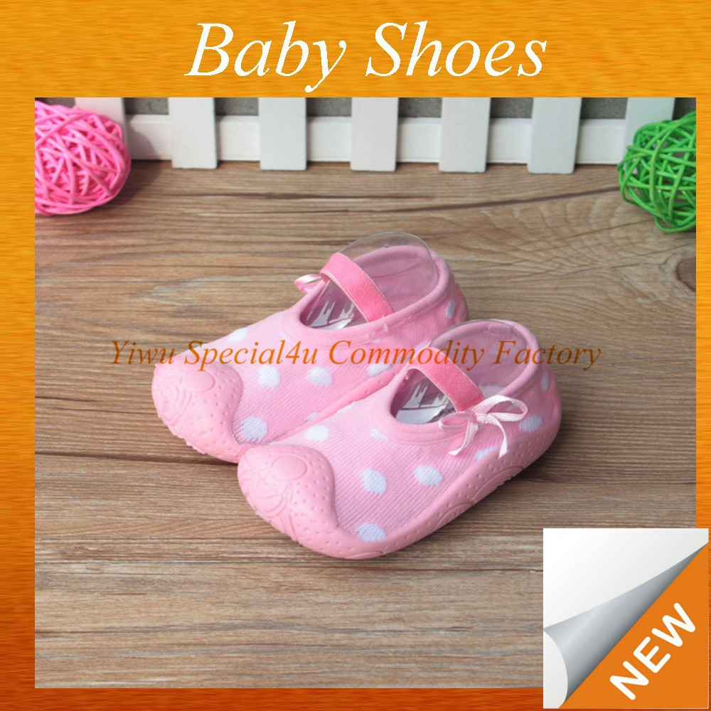 Baby girl shoes newborn fashion pink polka dots baby shoe socks fancy baby girls shoes SYBS-037