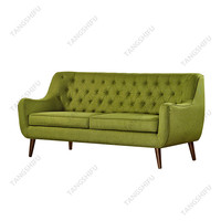 American style finest upholstered green fabric high back button tufted chesterfield sofa