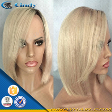 Factory price straight 100% remy human hair long blonde layered glueless full lace wig with bangs