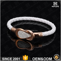 Wholesale Price Charms Rope Bangle Rose Gold Stainless Steel White Genuine Leather Bracelet