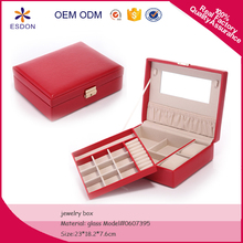 PU leather 2 layer jewelry storage box with 2 slot watch pad metal lock closure travel size