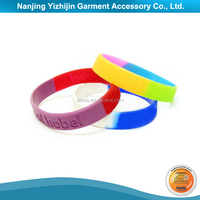Two Color Silicone Rubber Bracelet Wristband