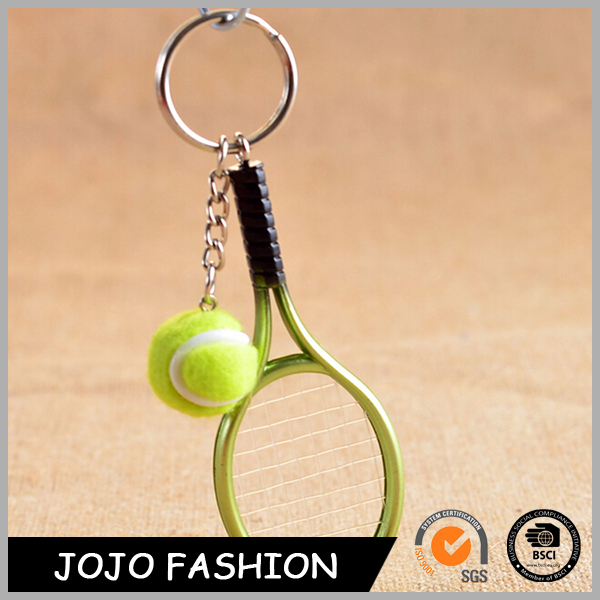 Promotional 3D Plastic Tennis Ball Keychain With Logo Printed