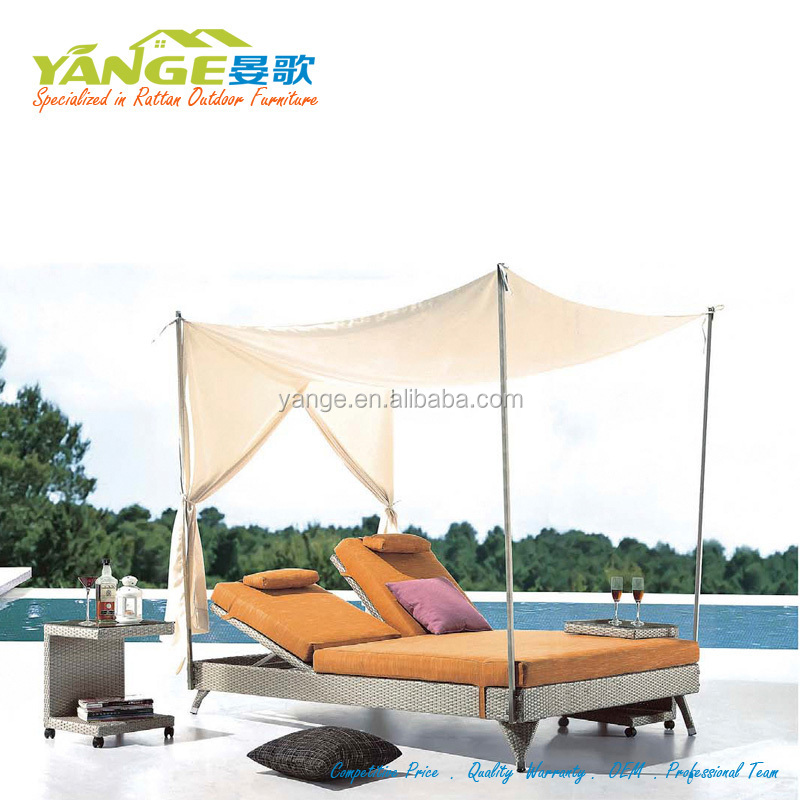 used hotel pool furniture rattan daybed beach lounger chair
