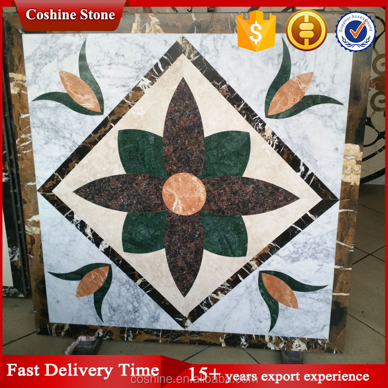 Flower design Mixed color White Gray marble waterjet tile