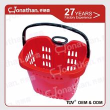 SJB-YM-2 supermarket shopping plastic basket trolley with wheels