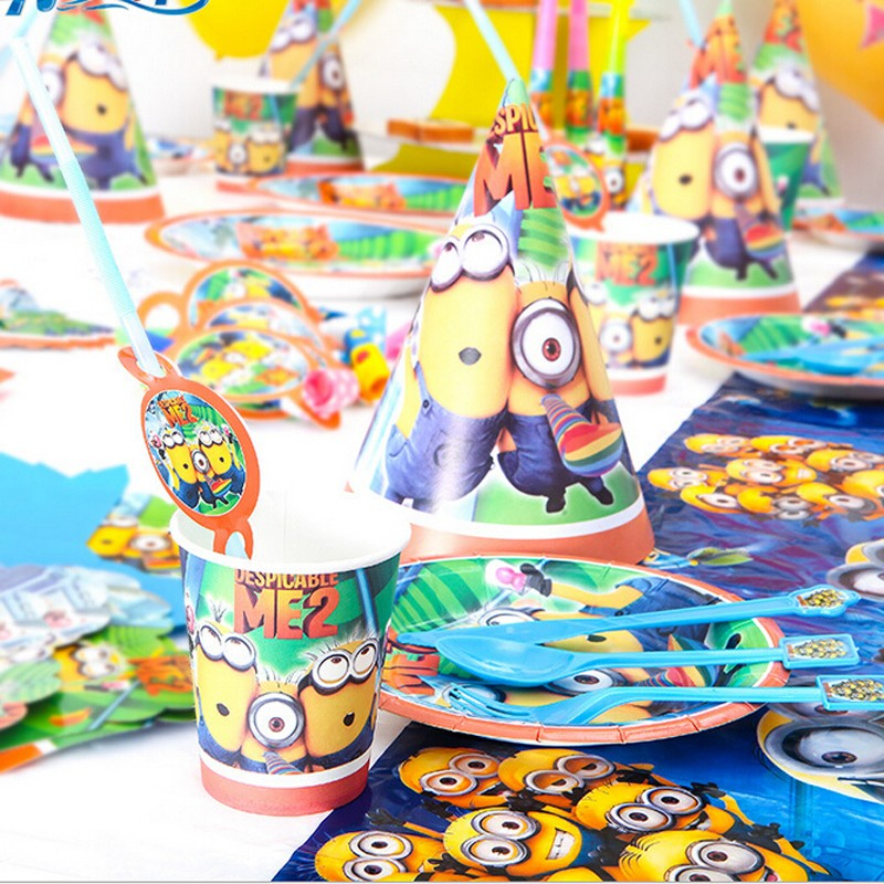 Party Favor Minions themeTableware Birthday Supplies Party Decorations Cartoon themed Set for baby boy girl