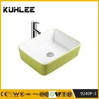 Make in china colored washing basin green wash sink KL9240P-3