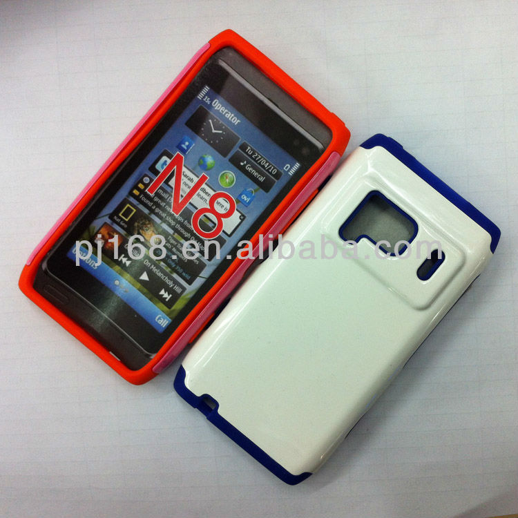 Hot!! TOP sale PC+silica gel combo phone case for Nokia N8