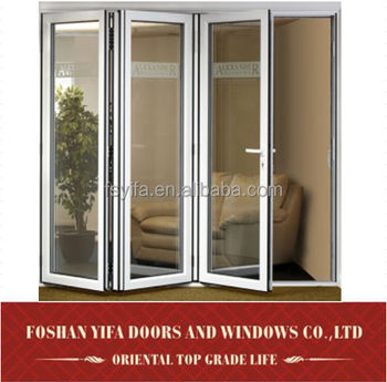 Aluminum Lowes Glass Interior Soundproof Folding Doors Accordion Room Divider