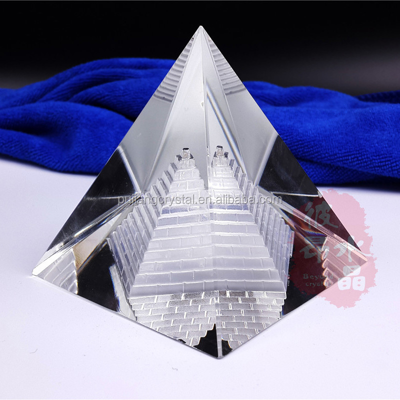 3D Laser engraving Crystal glass Pyramid Paperweight for office decoration