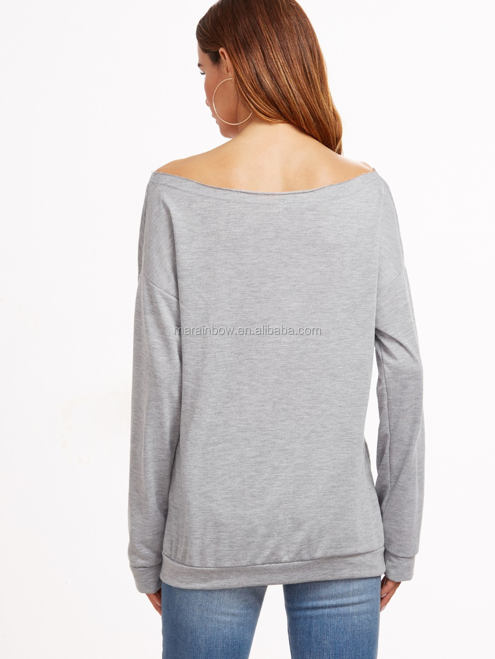 Lightweight Cotton Grey Boat Neck Drop Shoulder Letter Print Sweatshirt Sexy Womens Off the Shoulder Sweatshirt OEM
