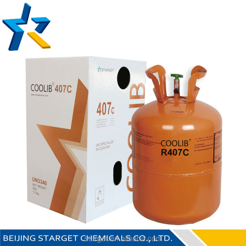 HVAC asccesories refrigerant gas R407C, mixed refrigerant for air conditioning