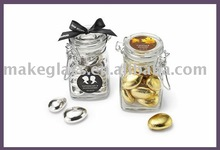 square glass jar with clip top lid,clear glass spice jar with clamp lid,mini square glass jar