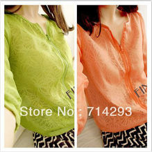 Korea Women's Sun-protective Clothing Anti-UV See Through Thin Jacket Coat Tops 15914