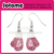 Pink Ribbon Fight Against Breast Cancer Boxing Glove Pendant Necklace earings set
