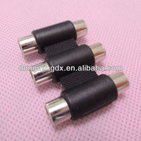 Audio system black RCA female to RCA female connector adapter