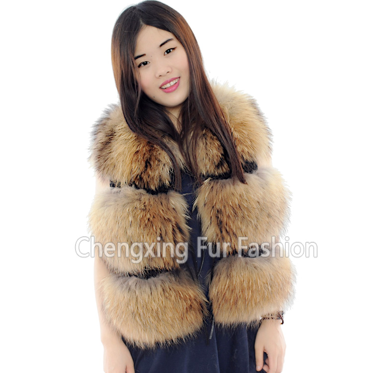 CX-<strong>G</strong>-B-<strong>103</strong> 2016 Top Fashion Sleeveless Outerwear Lady Winter Real Raccoon Fur Vest