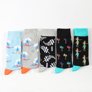 Sock OEM  custom funny fashion colorful cartoon mens crew socks