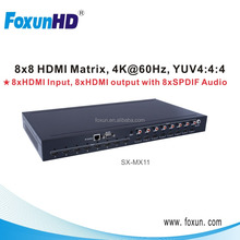 HDCP2.2 input and output 18Gpbs 4k@60hz yuv 4:4:4 8x8 HDMI matrix support HDMI2.0 IN and HDMI 2.0 OUT,hdcp 2.2 HDMI matrix