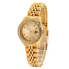 custom-made gold plated ladies wrist watch with 2035 quartz watch movts