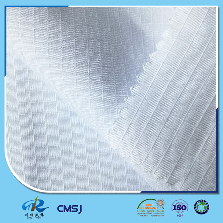 China factory supplier polyester cotton bleached ripstop fabric