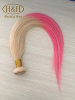 China Supplier Best Selling Pink Ombre Color Human Hair Weft Two Tone Indian Remy Hair Weave
