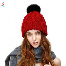 New apparel winter knitted pompom beanie 50% merino wool 50% acrylic women's fleece lining beanies hat