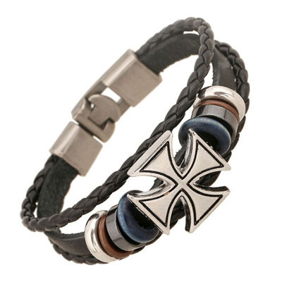 BA197 Wholesale 20cm Vintage Leather Bracelet Wristband Jewelry Bijouterie Unisex Girls Woman