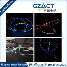 el micro usb cable led visible el light charging cable glowing chasing micro usb charger sync data cable