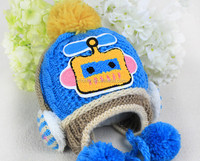 Double ball earmuffs students knitted cap, wholesale knitted hat for 5-10 year old child