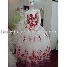 Organza embroidery fabric /wedding dress embroidery fabric