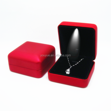 Red PU Leather Display Storage Necklace Pendant Jewelry Gift Box with LED Light