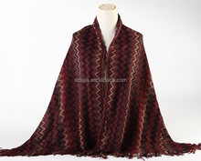 Fashion acrylic Jacquard ladies winter pashmina shawl scarves