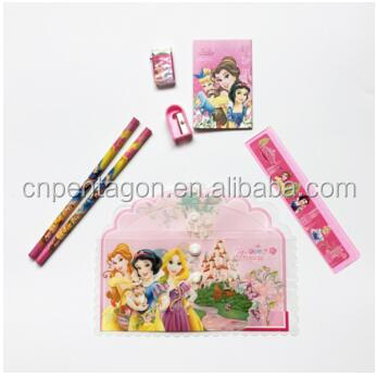 Promotional gift stationary set school kids with color pencil case eraser ruler