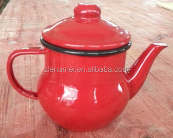 0.5L red enamel mini tea pot