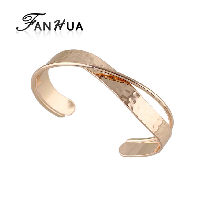 New Design Rose Gold Silver Color Plain Metal Cuff Bangles