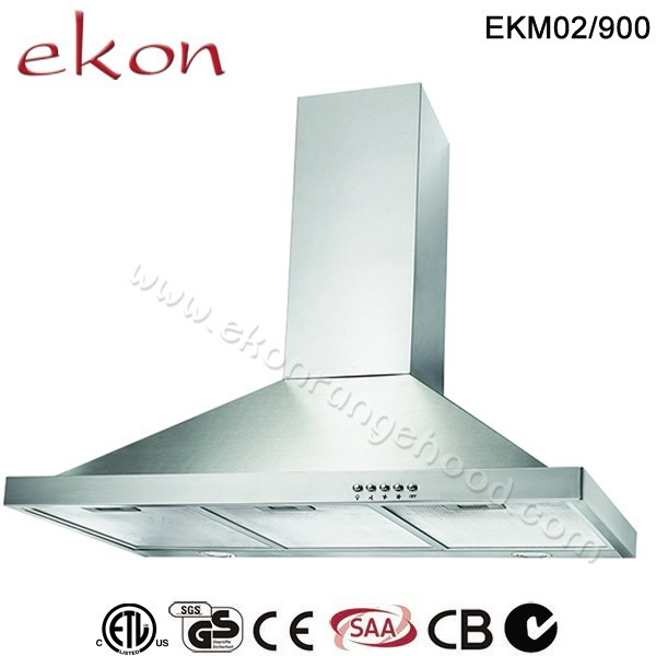 CE CB GS SAA Approved Vented Tower Stainless Steel Canopy 60 Inch Powerful 2000m3/hr BBQ Twin Motor Kitchen Range Hood