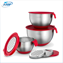 Kitchen use stainless steel red salad mixing bowl set