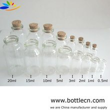 wholesale wedding mini 1ml glass bottle vial with cork stopper