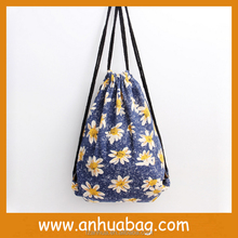Blue Color Yellow Chrysanthemum Cotton Cloth Drawstring Bag