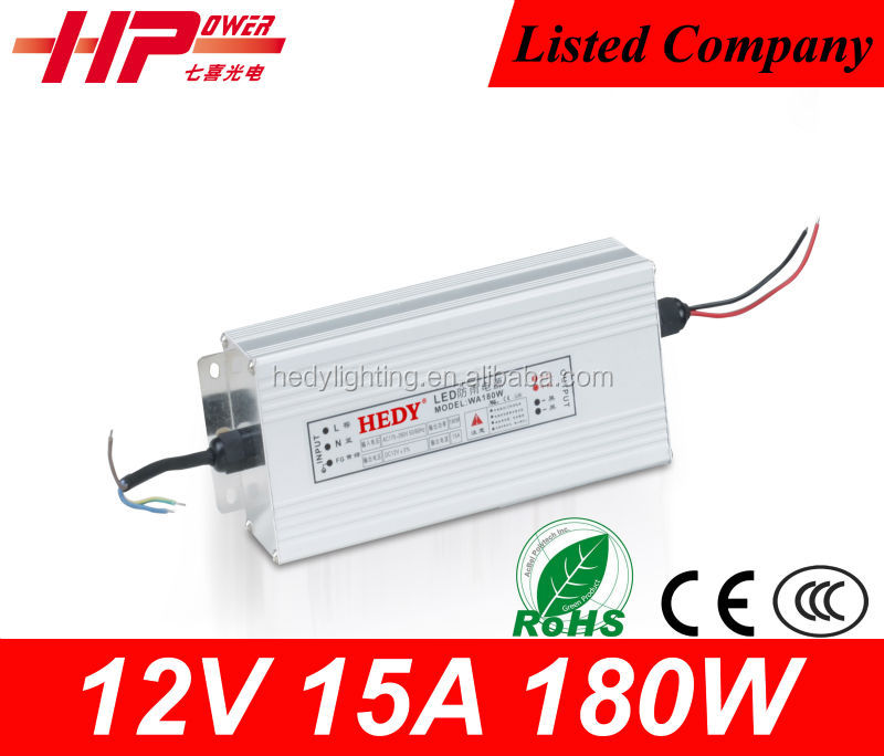 Manufacturer CE RoHS single output rainproof constant voltage AC DC switching mode 15A 180W 12v 220v dc power supply circuit