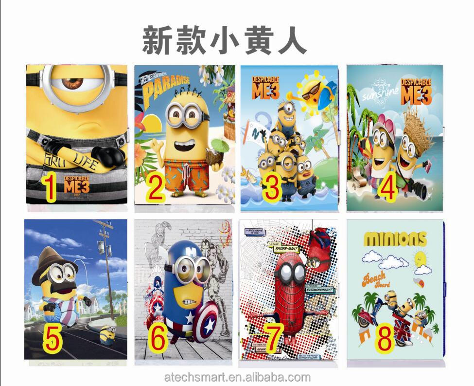 Minions Cartoon synthetic leather protective case for iPad mini 123 ,for iPad 23456, air 1/2 pro 9.7''