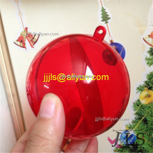 Openable red transparent plastic balls Christmas bauble